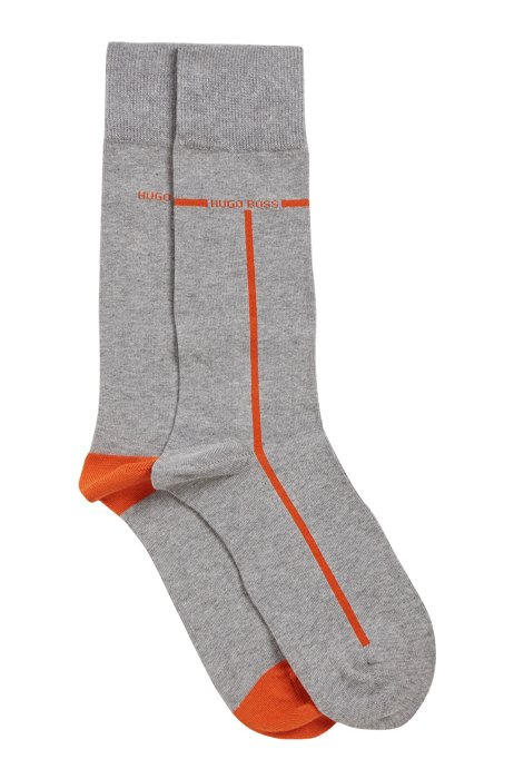 Two-pack of cotton-blend socks with contrast accents, Silver