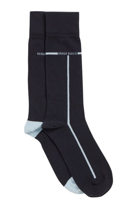 Two-pack of cotton-blend socks with contrast accents, Dark Blue