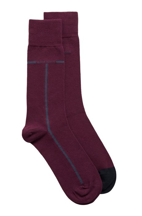 Two-pack of cotton-blend socks with contrast accents, Purple