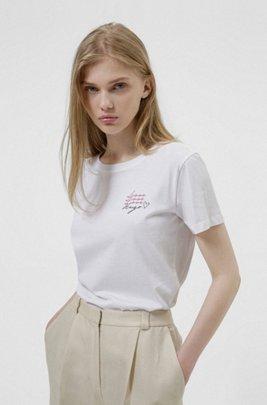 T-Shirt aus Bio-Baumwolle mit Logo-Artwork der neuen Saison, Weiß