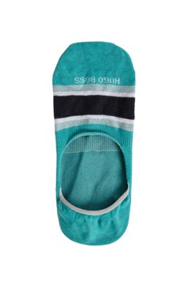 Block-stripe invisible socks in a cotton blend, Turquoise