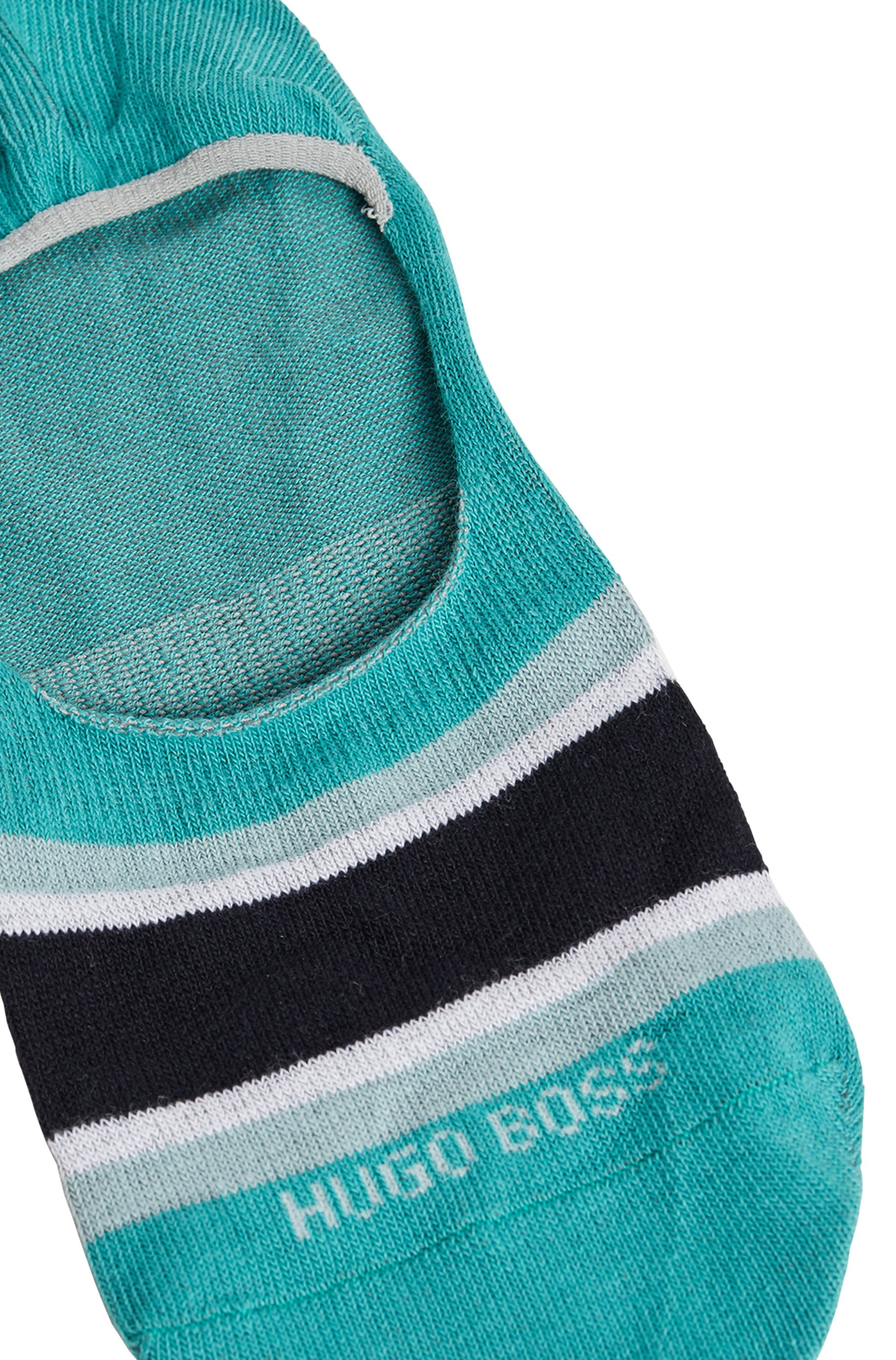 Block-stripe invisible socks in a cotton blend