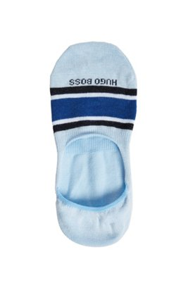 Block-stripe invisible socks in a cotton blend, Light Blue