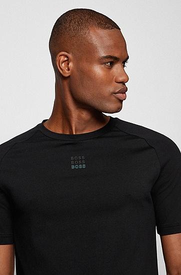 徽标艺术图案修身 T 恤,  001_Black