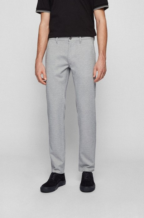 Slim-fit trousers in knitted stretch fabric, Light Grey