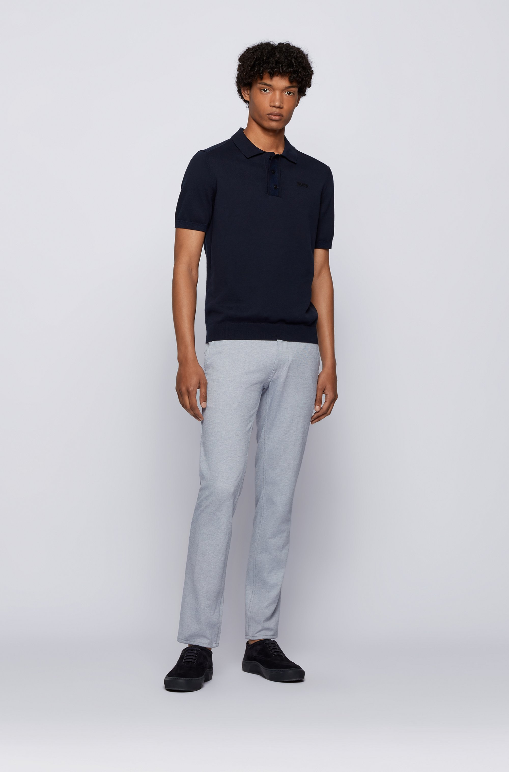 Slim-fit trousers in knitted stretch fabric