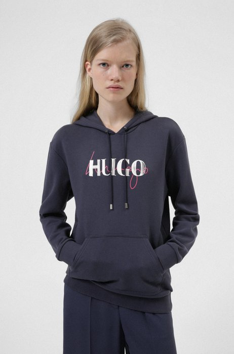 Relaxed-fit hoodie in French terry with double logo, Dark Blue