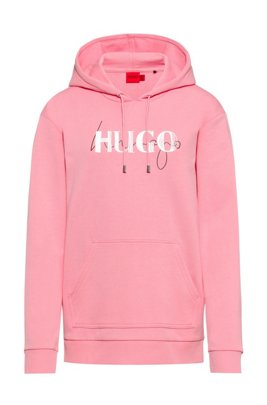Relaxed-fit hoodie in French terry with double logo, Pink