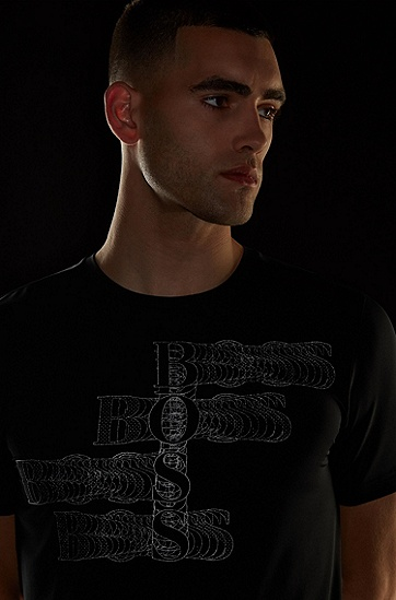 反光图案装饰弹力平纹针织面料修身 T 恤,  001