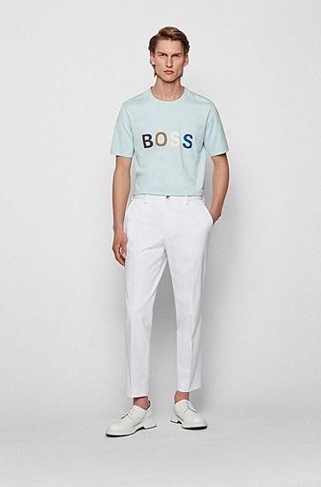 拼色徽标图案装饰棉质平纹单面针织布 T 恤,  452_Light/Pastel Blue