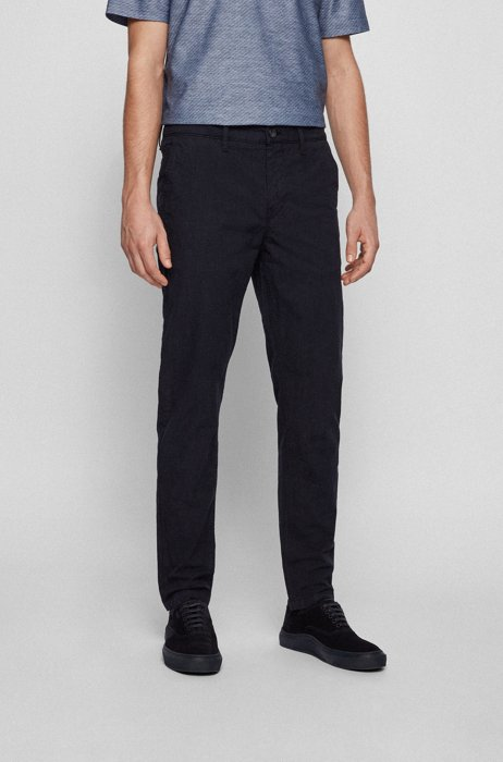 Tapered-fit trousers in stretch cotton with tonal check, Dark Blue