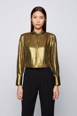 Stand-collar blouse in lightweight crepe with laminated finish, Gold