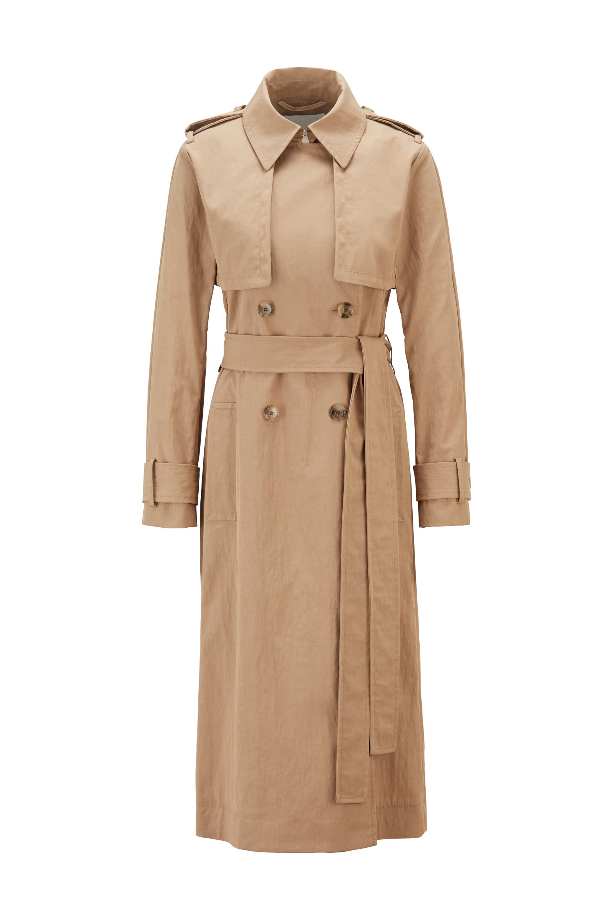 Long-length belted trench coat in cotton-blend twill, Beige