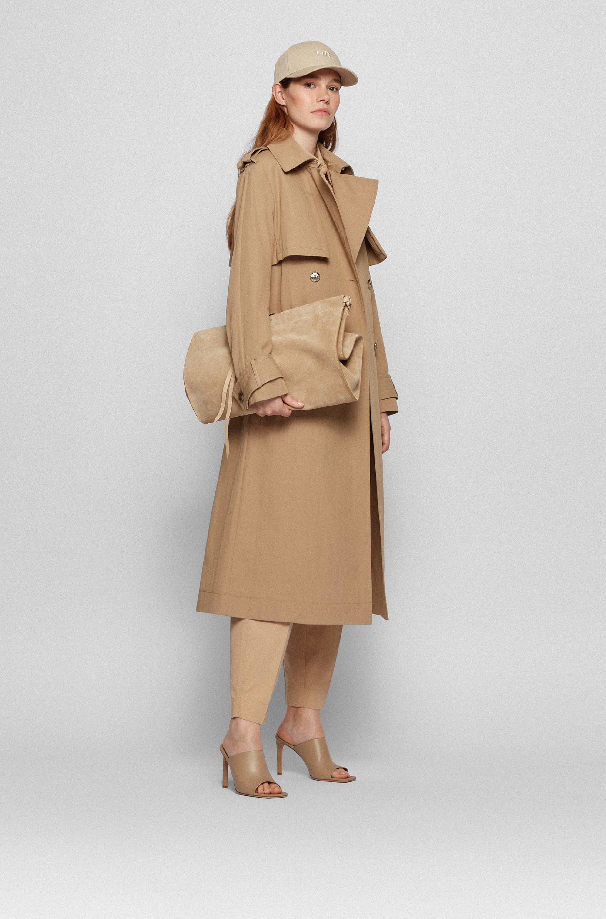 Long-length belted trench coat in cotton-blend twill