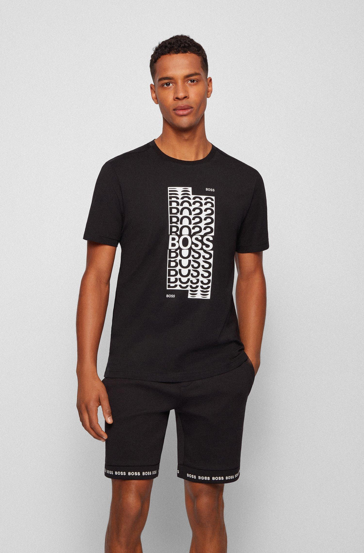 Regular-Fit T-Shirt aus Baumwolle mit mehrlagigem Logo-Artwork, Schwarz