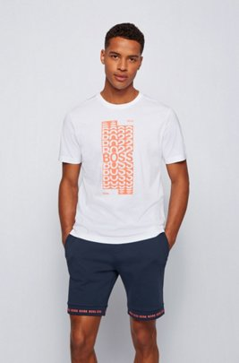 Regular-fit T-shirt in cotton with layered logo artwork, White