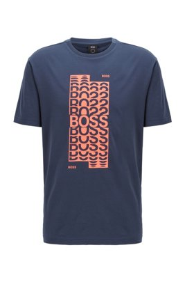 T-shirt Regular Fit en coton, avec logo superposé, Bleu foncé