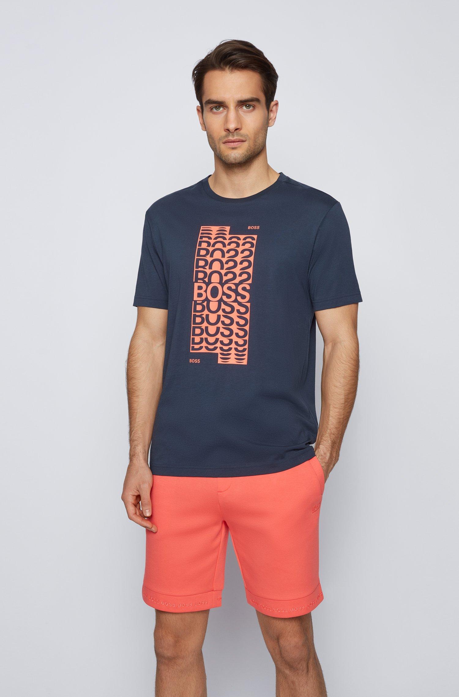 Regular-Fit T-Shirt aus Baumwolle mit mehrlagigem Logo-Artwork, Dunkelblau