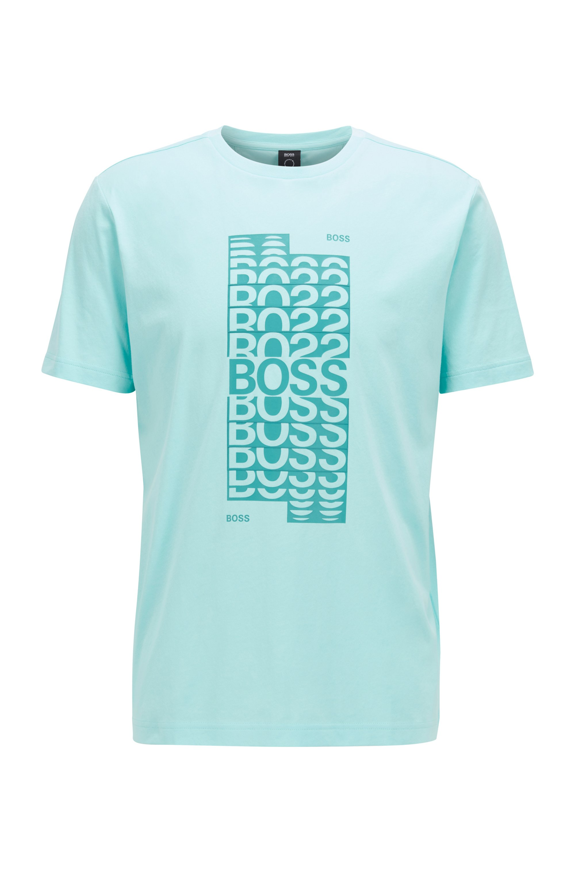 T-shirt regular fit in cotone con logo grafico a strati, Celeste