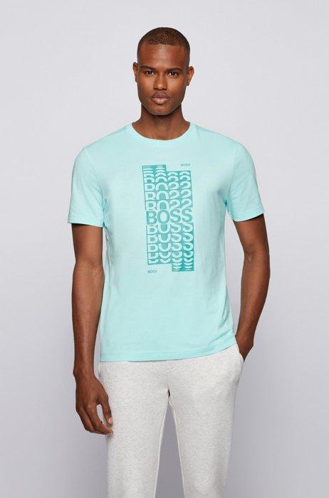 Regular-fit T-shirt van katoen met gelaagd logo-artwork, Lichtblauw