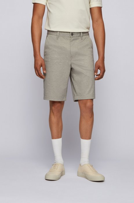 Tapered-fit shorts in two-tone knitted stretch fabric, Dark Green