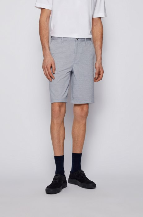 Tapered-fit shorts in two-tone knitted stretch fabric, Light Blue