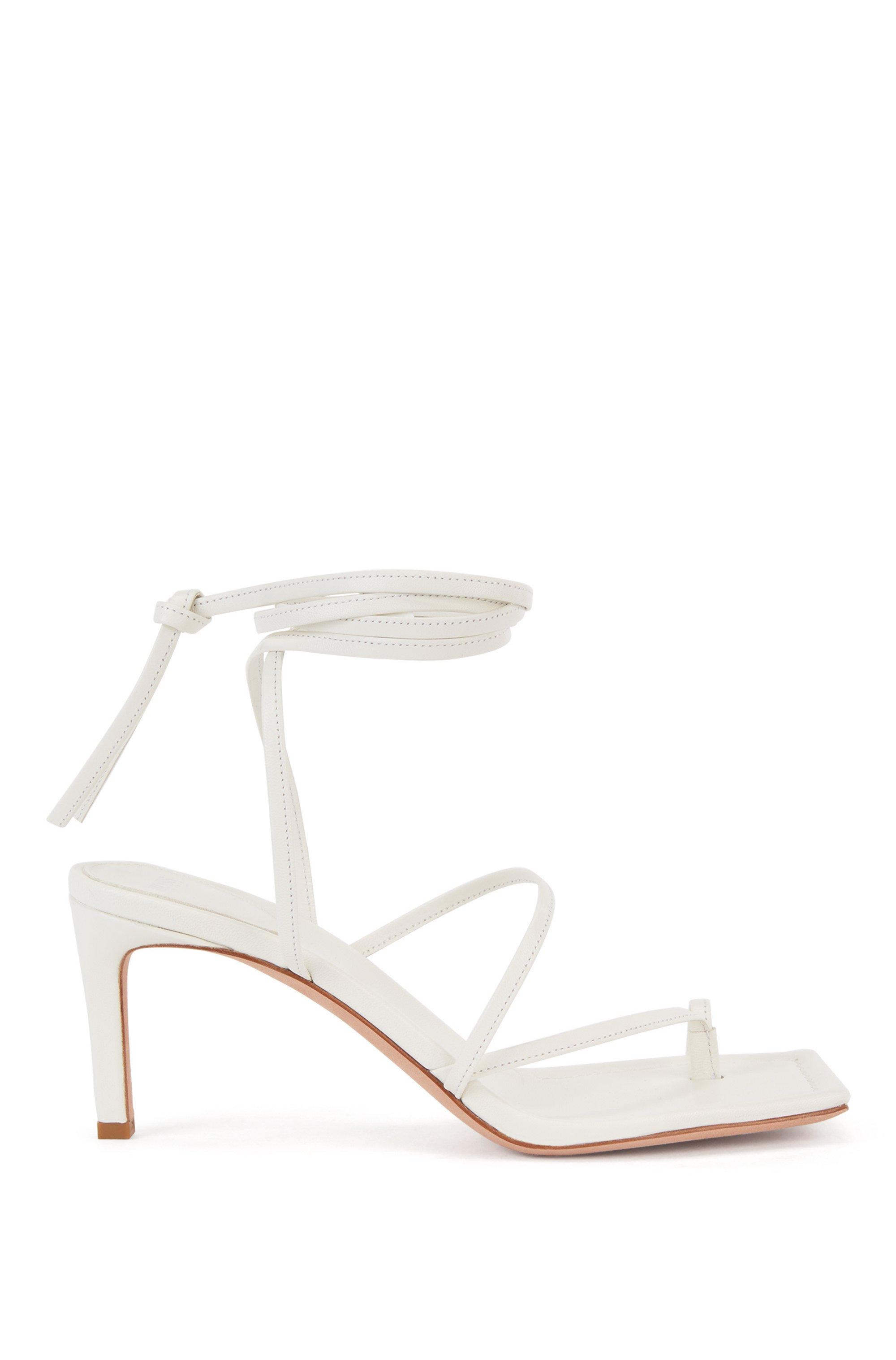 Sandalias con tira larga en el tobillo elaboradas en piel italiana, Blanco