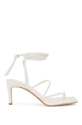 Italian-leather sandals with long ankle strap, White