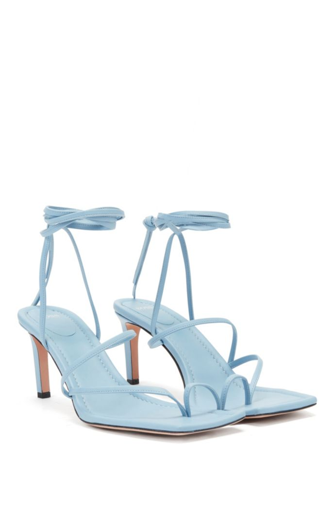 Italian-leather sandals with long ankle strap