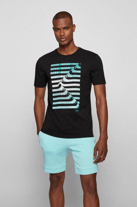 T-shirt en coton mélangé avec logo artistique et rayures, Noir