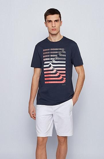 条纹徽标图案棉质混纺 T 恤,  410_Navy