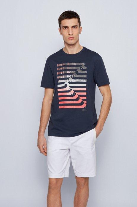 T-shirt en coton mélangé avec logo artistique et rayures, Bleu foncé