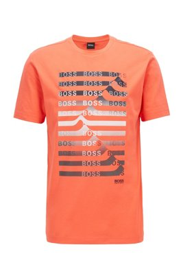 Cotton-blend T-shirt with striped logo artwork, Light Orange