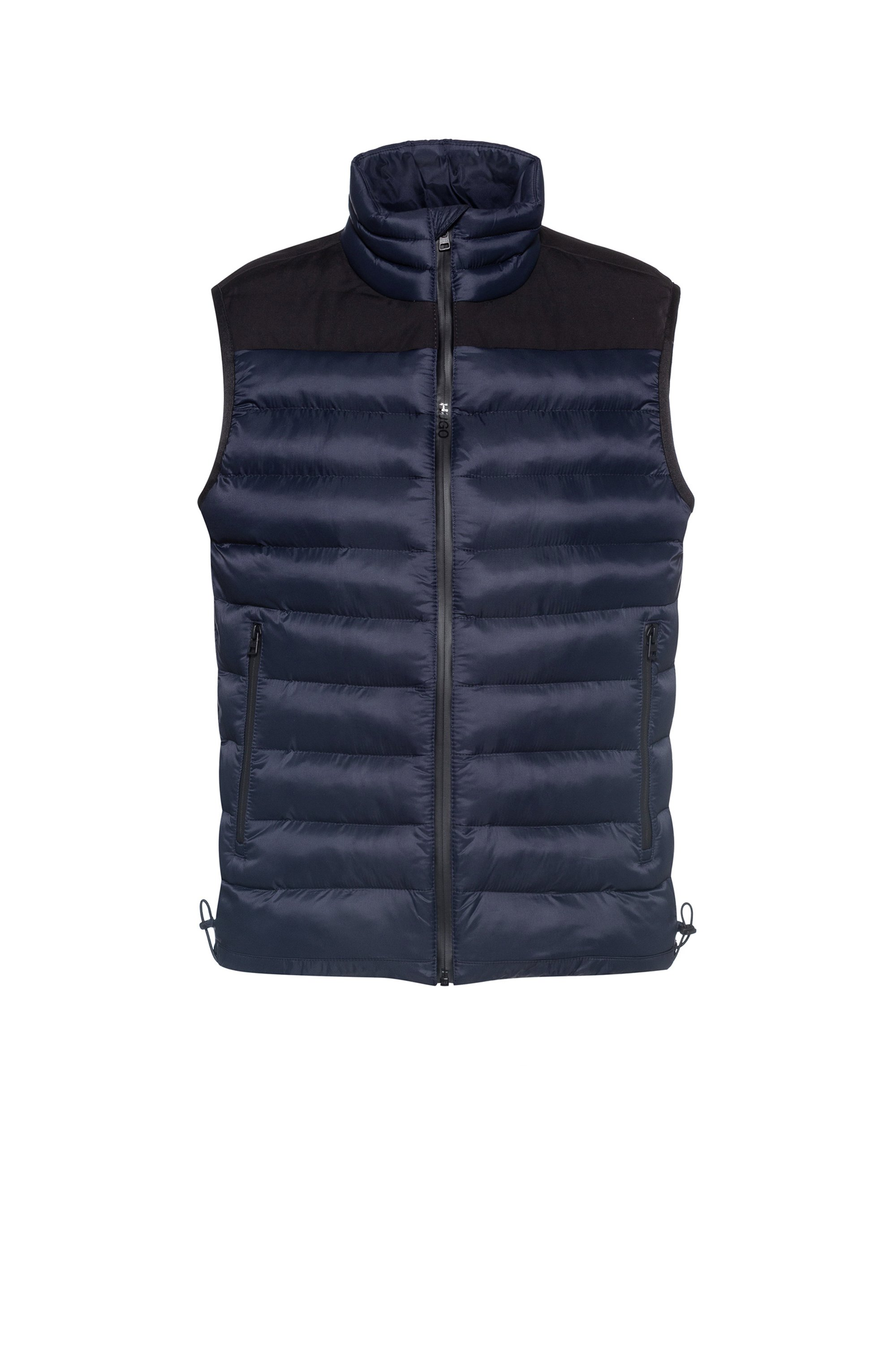 Padded gilet in water-repellent fabric, Dark Blue