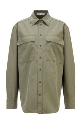 Relaxed-fit blouse in cotton-blend twill, Khaki