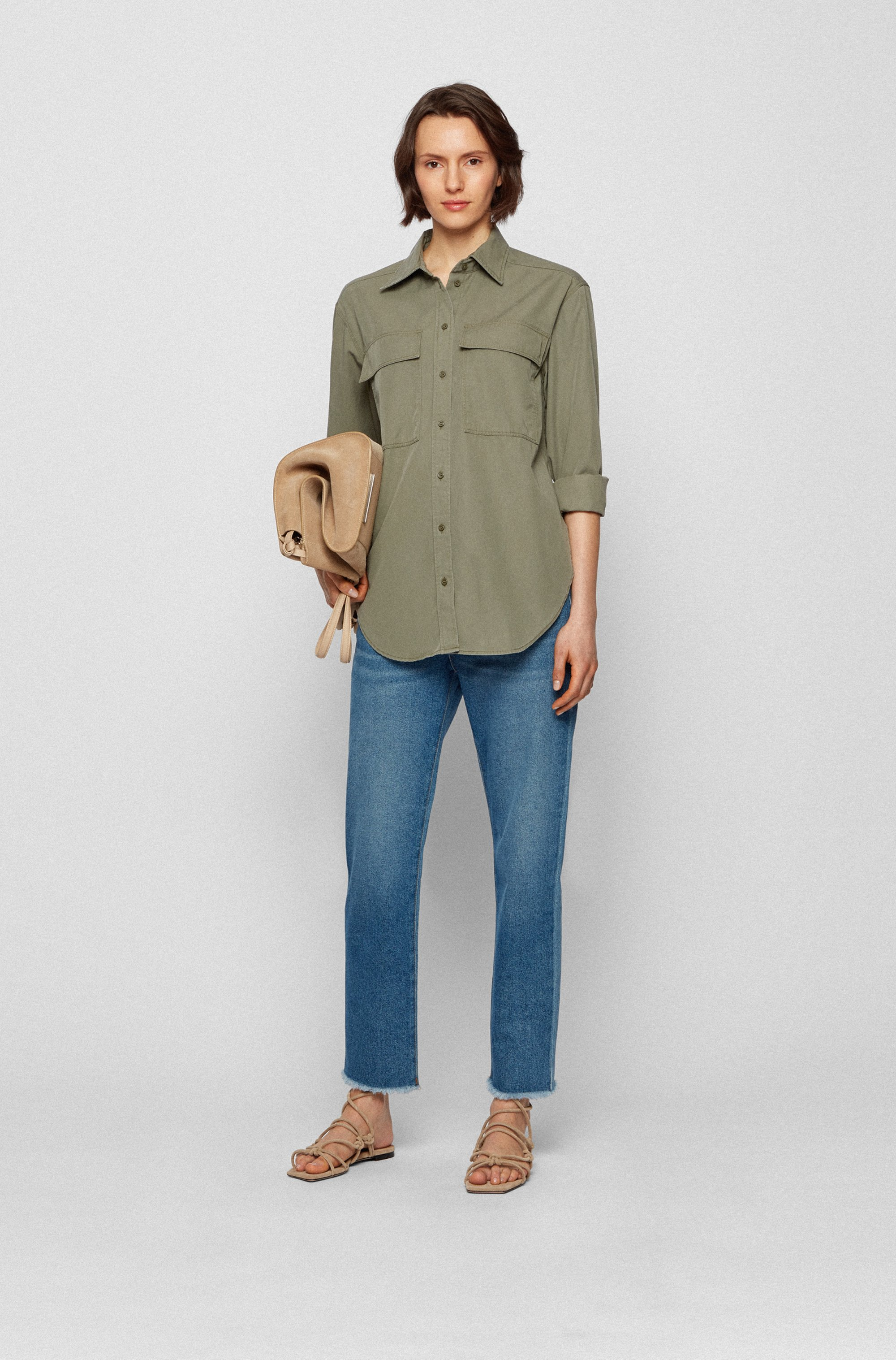 Relaxed-fit blouse in cotton-blend twill