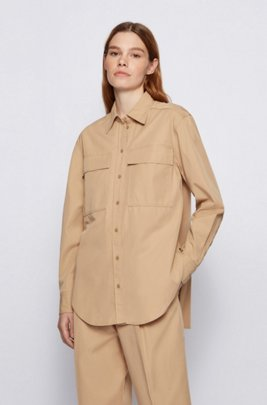 Relaxed-fit blouse in cotton-blend twill, Beige