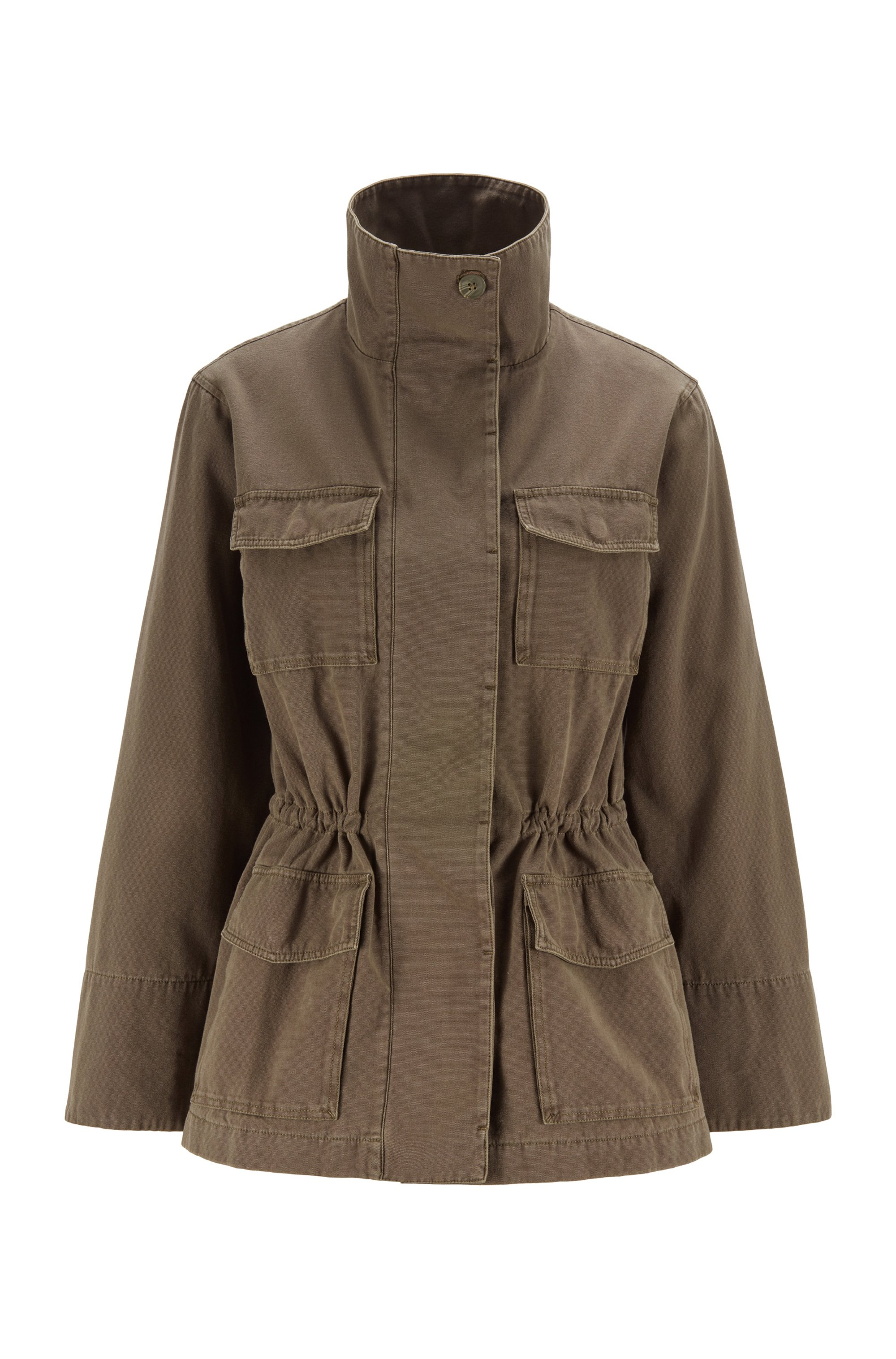 Field jacket in garment-dyed cotton with drawstring waist, Khaki