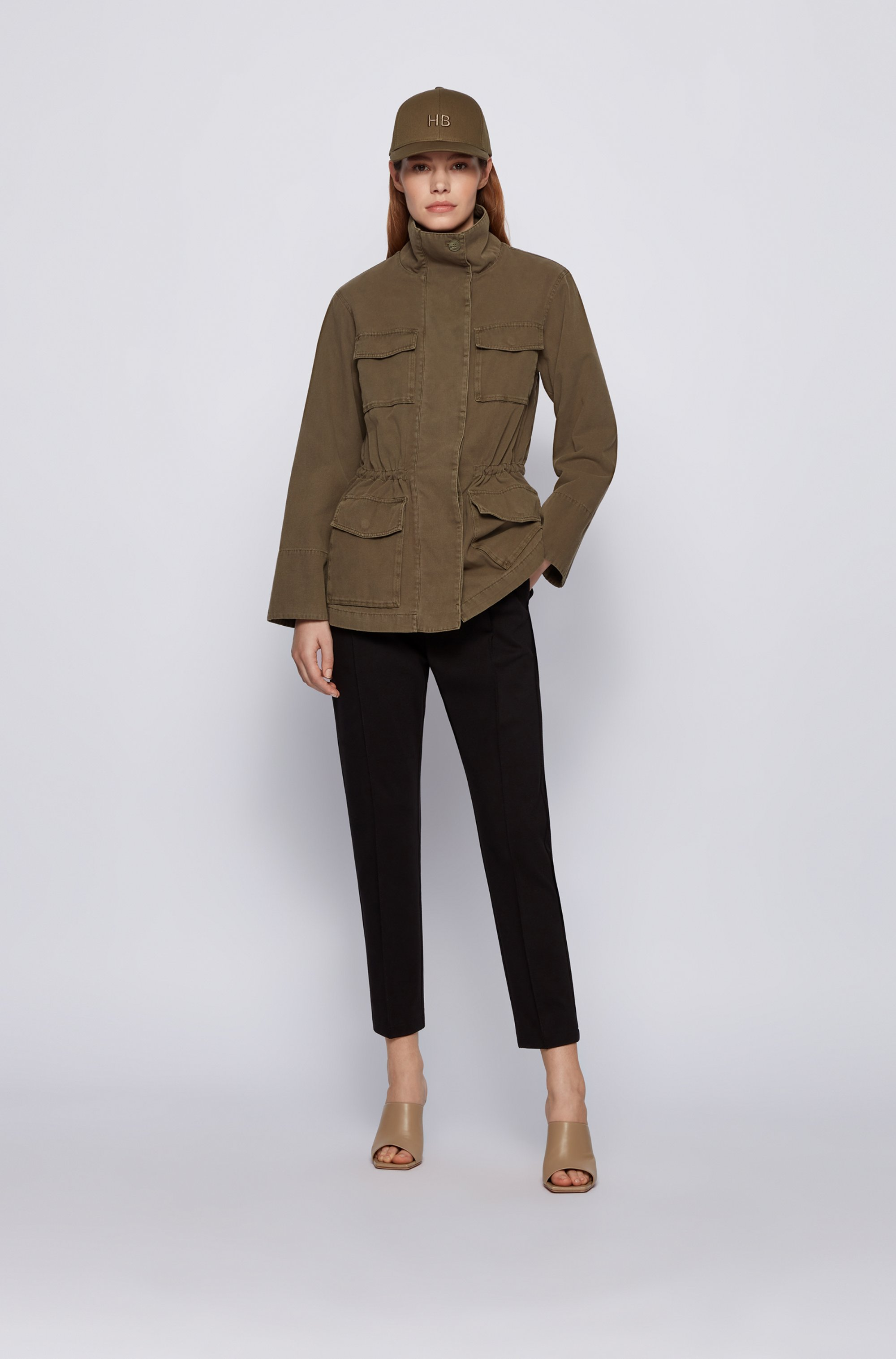 Field jacket in garment-dyed cotton with drawstring waist