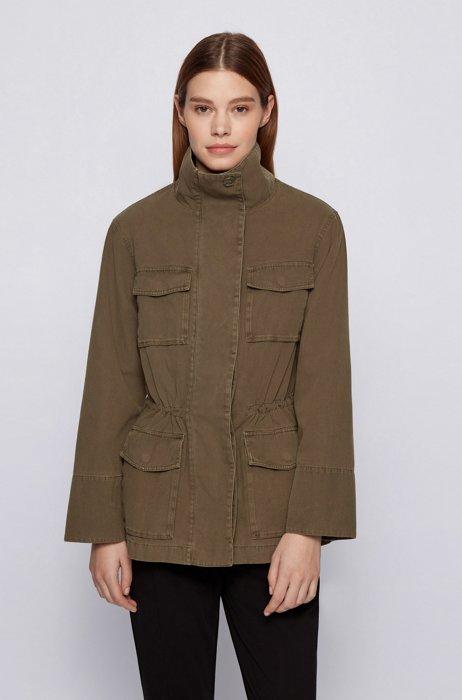 Field jacket in garment-dyed cotton with drawstring waist, Khaki