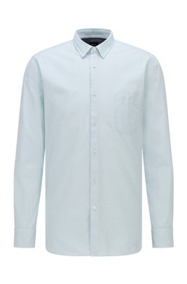 Patterned slim-fit shirt in stretch-cotton dobby, White Patterned