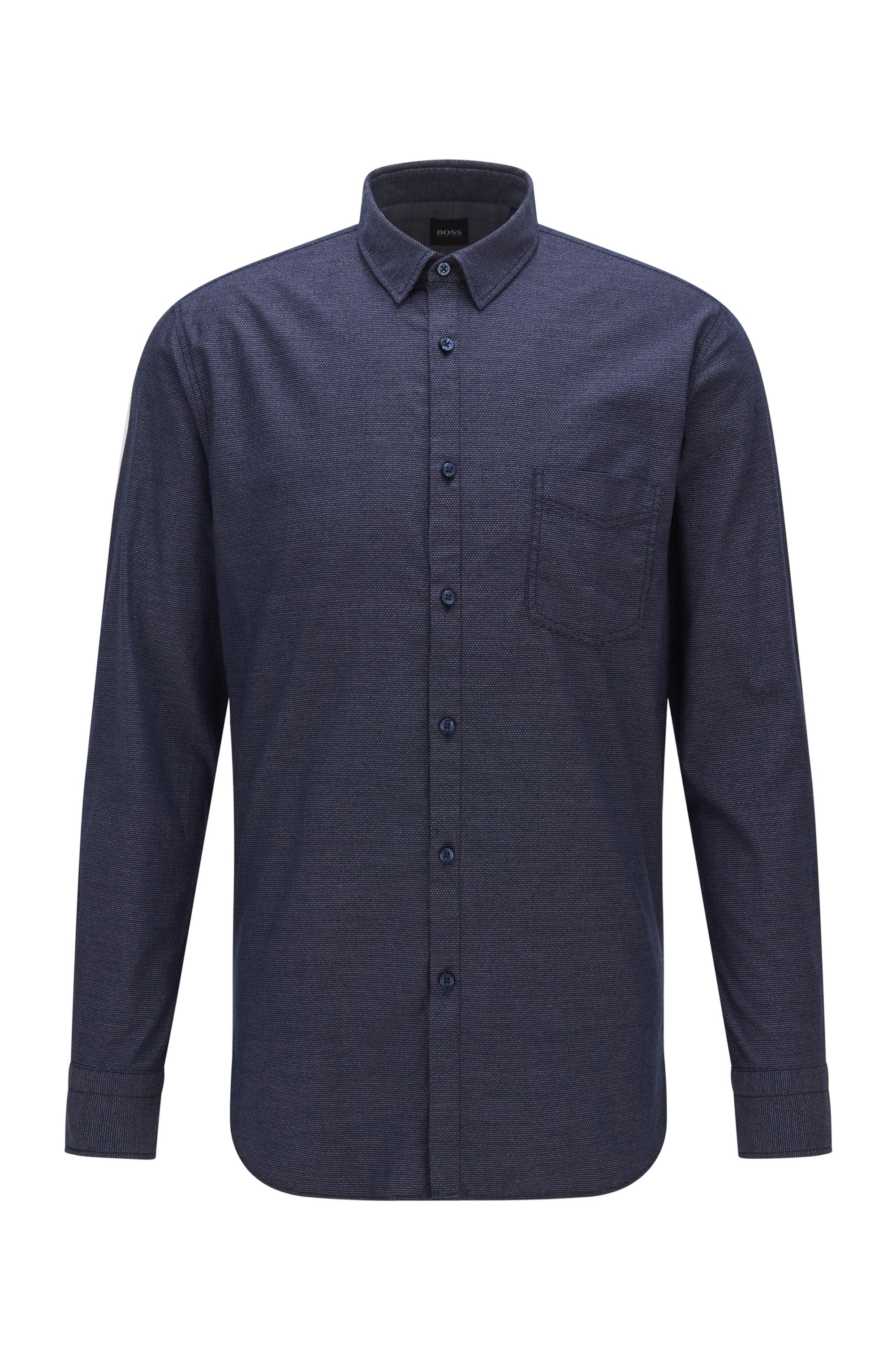 Patterned slim-fit shirt in stretch-cotton dobby, Dark Blue