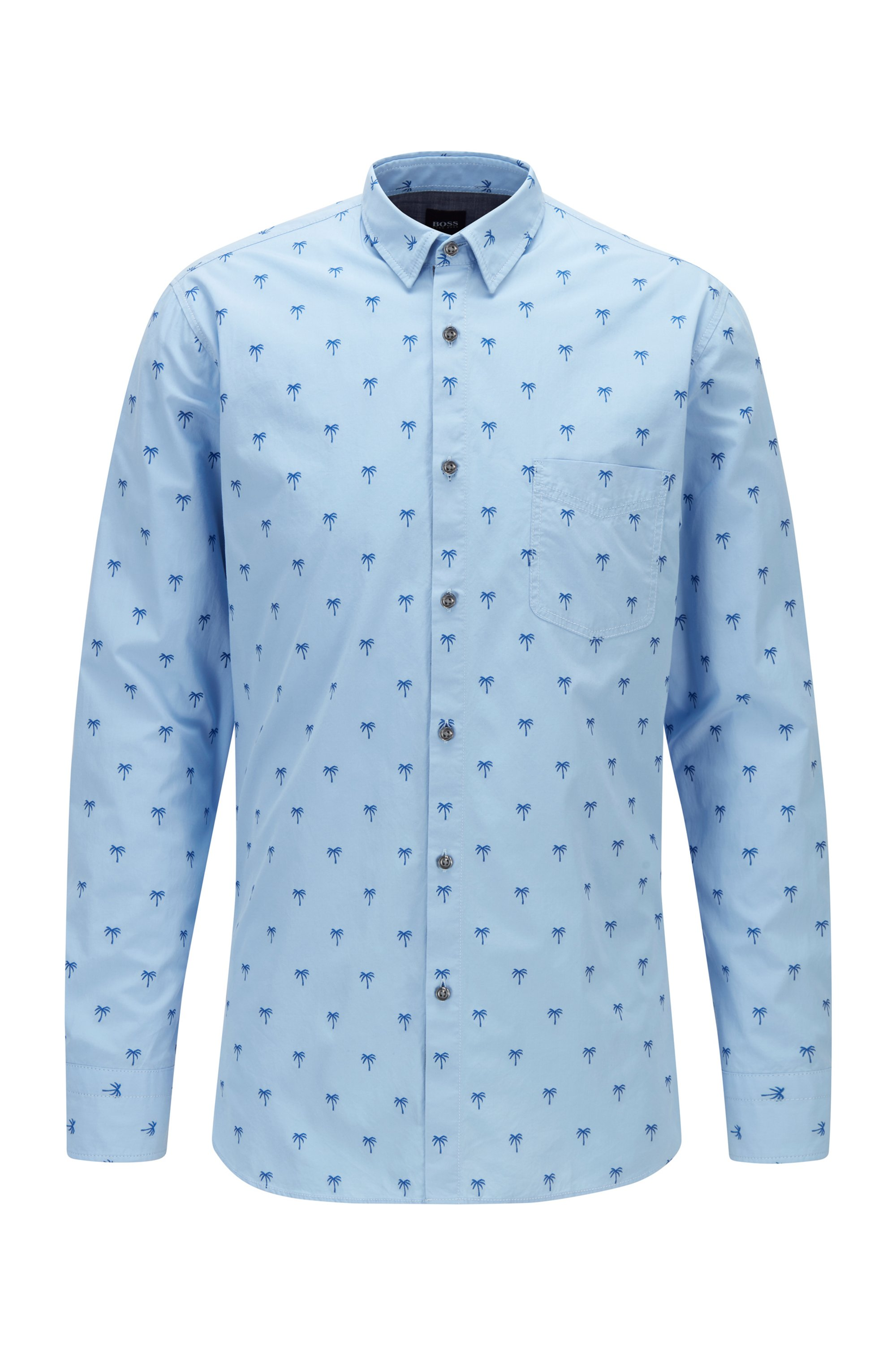 Patterned slim-fit shirt in stretch-cotton dobby, Blue Patterned