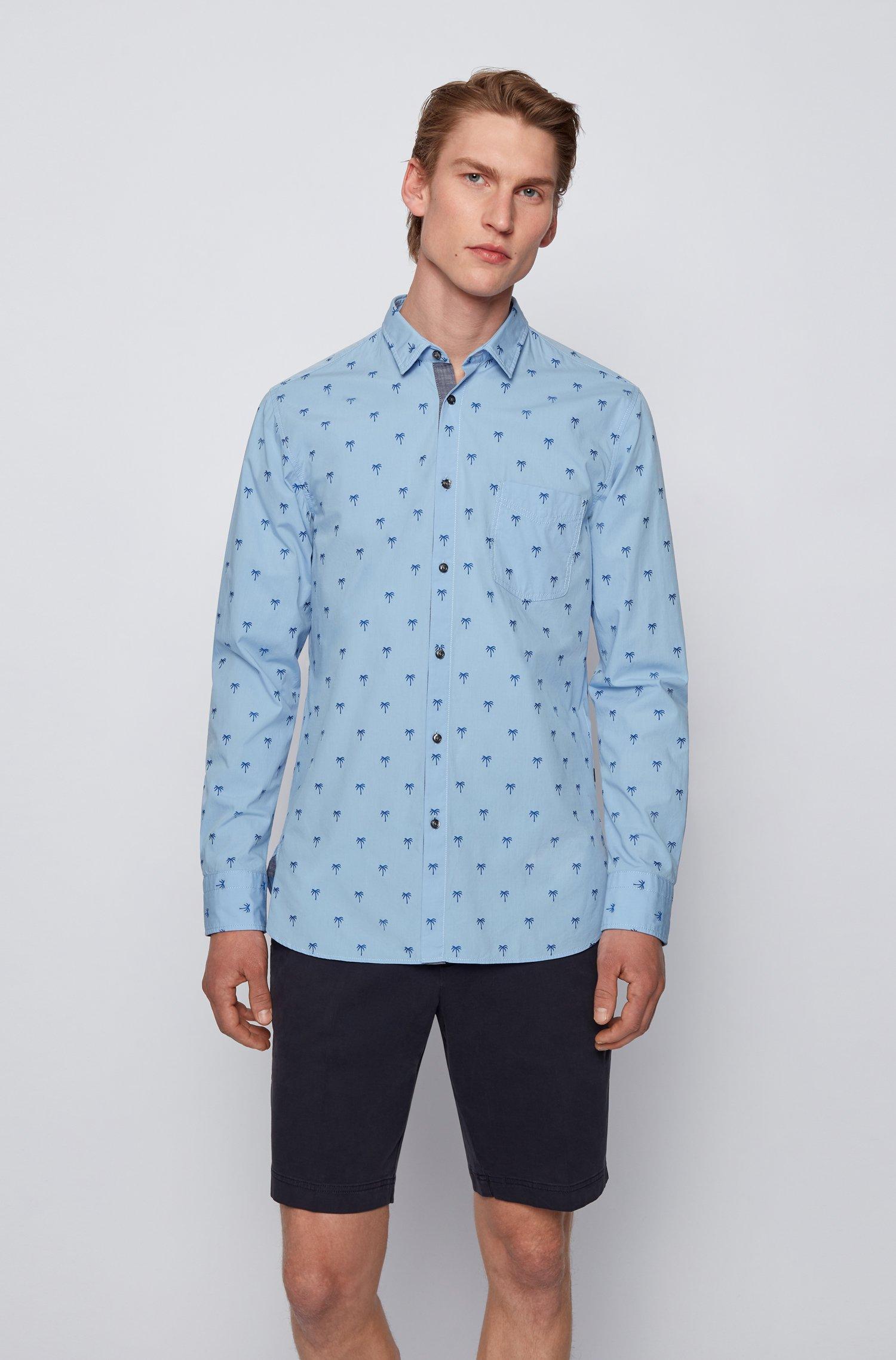 Chemise Slim Fit en coton stretch façonné à motif, Bleu à motif