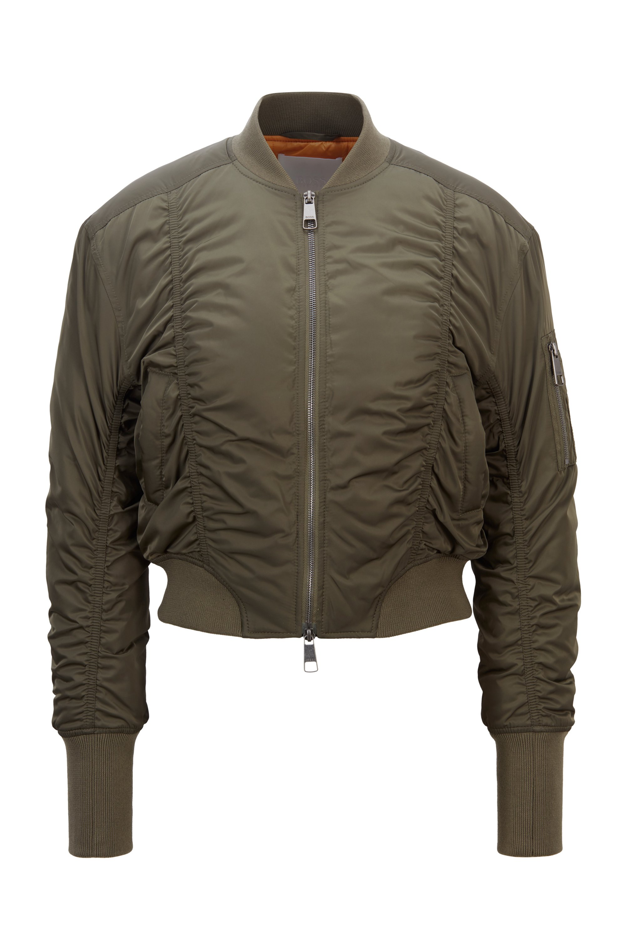 Ruched bomber jacket with patched sleeve pocket, Khaki