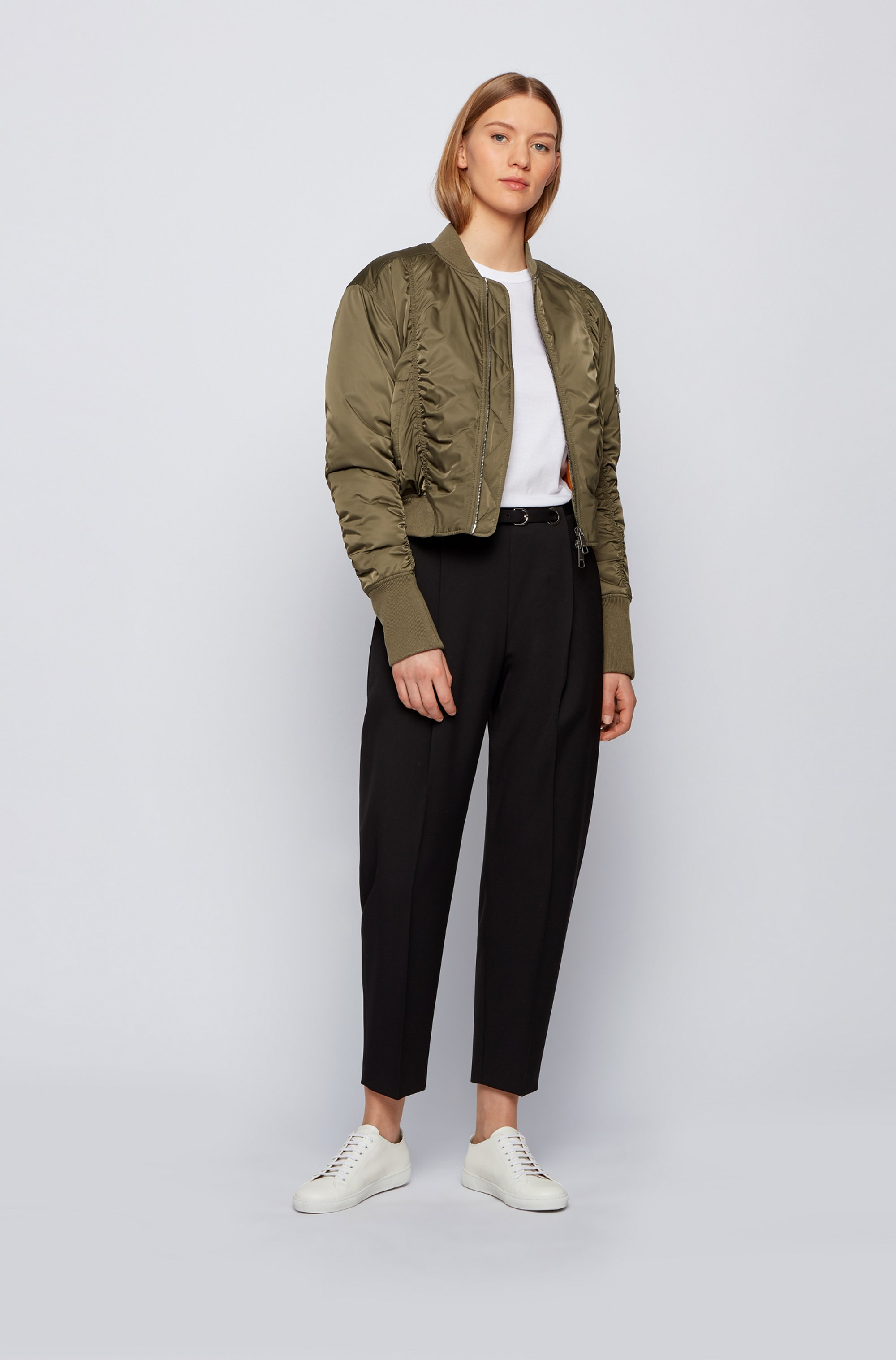 Ruched bomber jacket with patched sleeve pocket