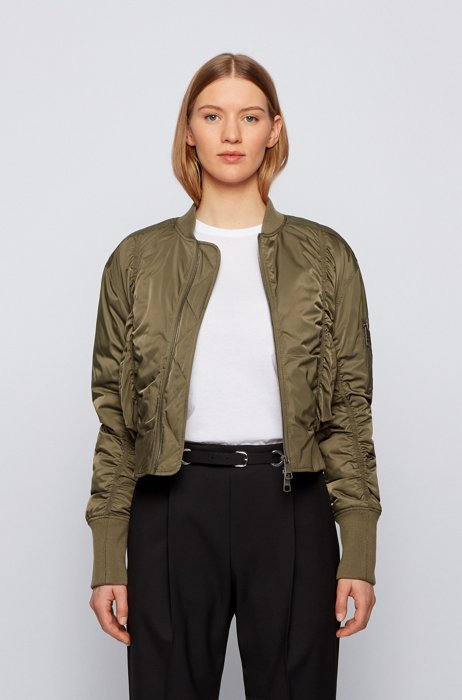 Ruched bomber jacket with patched sleeve pocket, Khaki