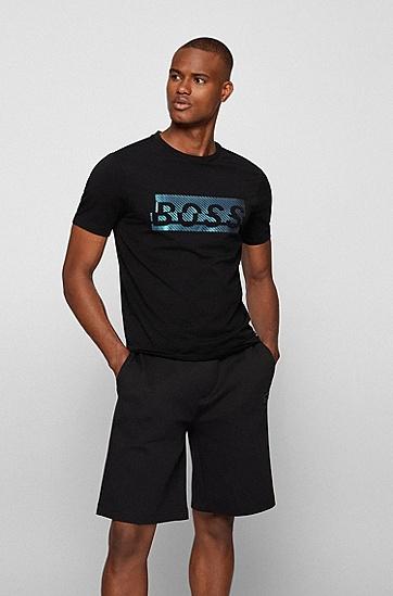 新季徽标图案弹力棉 T 恤,  001_Black