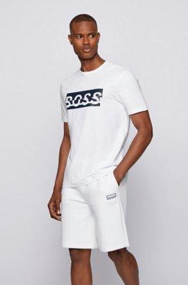T-shirt en coton stretch avec logo artistique de la nouvelle saison, Blanc