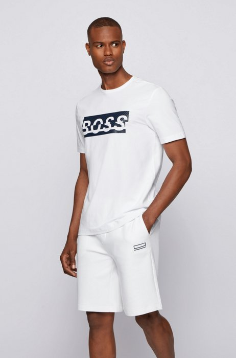 Stretch-cotton T-shirt with new-season logo artwork, White